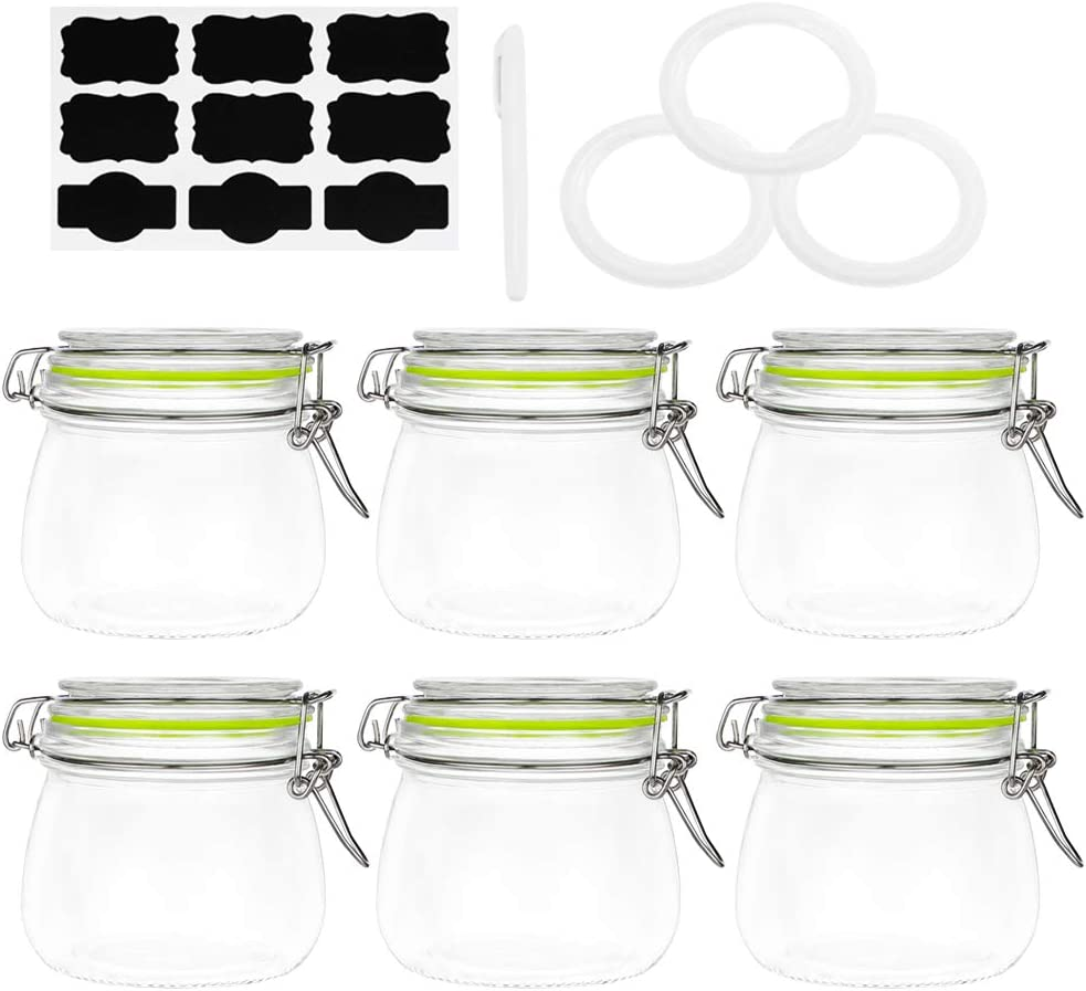 Glass Jars with Airtight Lids, Qianfenie 18 oz Mason Jars with Hinged Lids for Kitchen - Glass Storage Jars with Labels & Chalkboard Pen and Replacement Silicone Gaskets, Set of 6