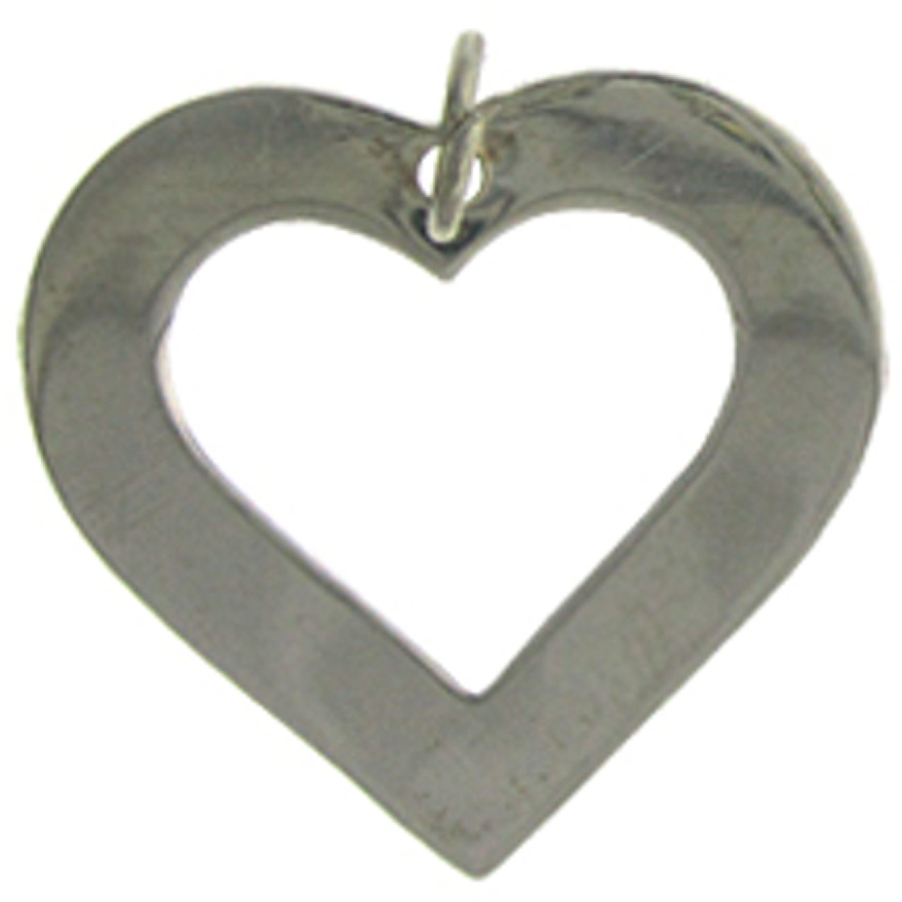 Sterling Silver Womens 1mm Box Chain Outlined Flat Heart Pendant Necklace