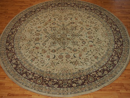 10' X 10' Medallion Traditional Persian Tabriz Beige Round Wool & Silk Rug Beige Tabriz Medallion Rug