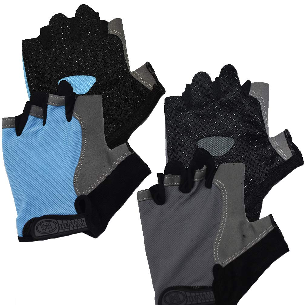 Cycling Gloves for Men Women Exercise Sports Bikes, Weight Lifting Gloves for Gym Training(2 Pair)