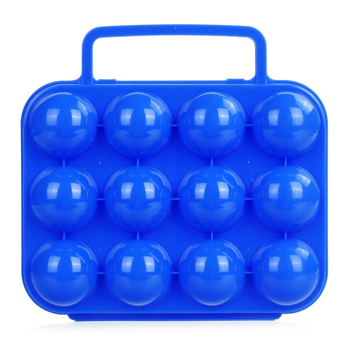 プラスチック12卵キャリアコンテナストレージボックスケースのピクニック – ブルー B0793M9PPY