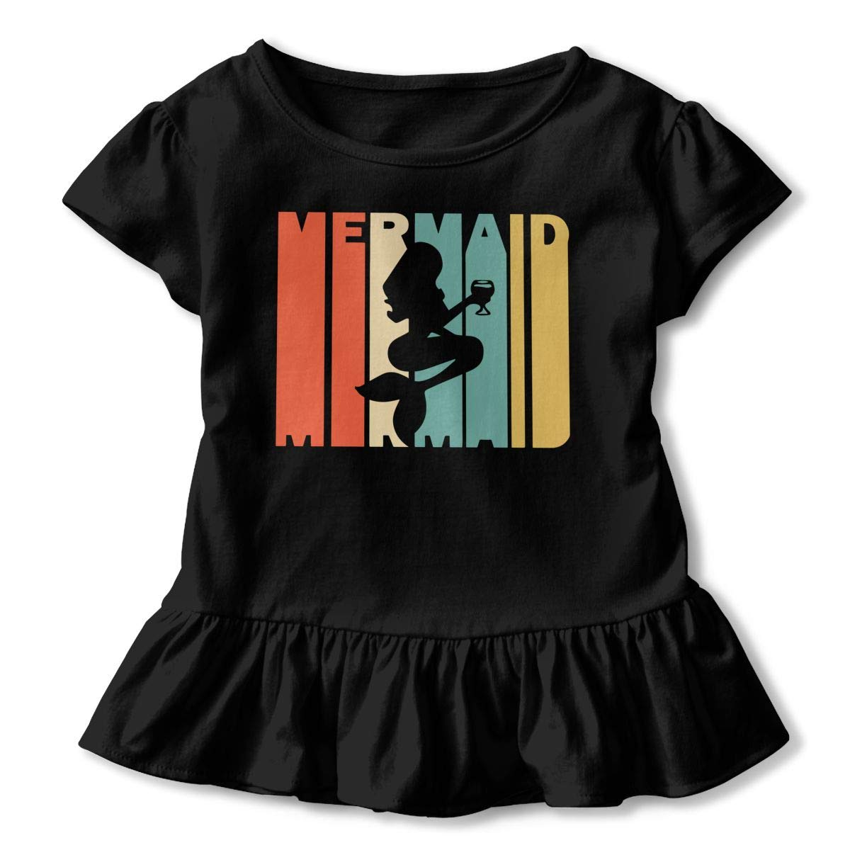 2-6T Short-Sleeve Retro Style Mermaid Silhouette Shirts for Kids Casual Tunic Shirt Dress with Falbala
