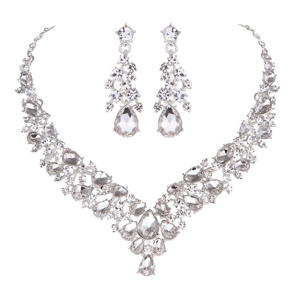 Youfir Austrian Rhinestone Crystal Wedding Gown Prom Ball Necklace Earrings Jewelry Set for Brides Dress(Clear)