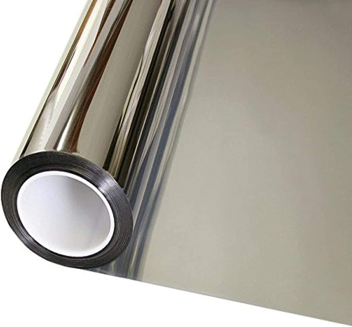 OFHome One Way Privacy Film Static uv Window Insulation Film Sun Blocking Cling Film with Glue Window Tinting Film for Home Living-Room Office Diamond Silver 35.4inX196.9in