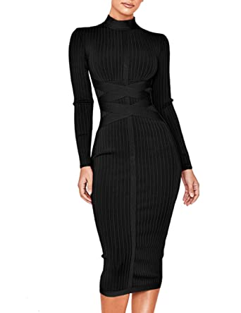 6b1f77c87540 UONBOX Women's Long Sleeves Cross Strap Ribbed Club Party Midi Bodycon  Bandage Dress (XS,