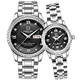 CARNIVAL Couple Watches Men and Women Automatic Mechanical Watch Romantic for Her or His Set of 2 (Black)