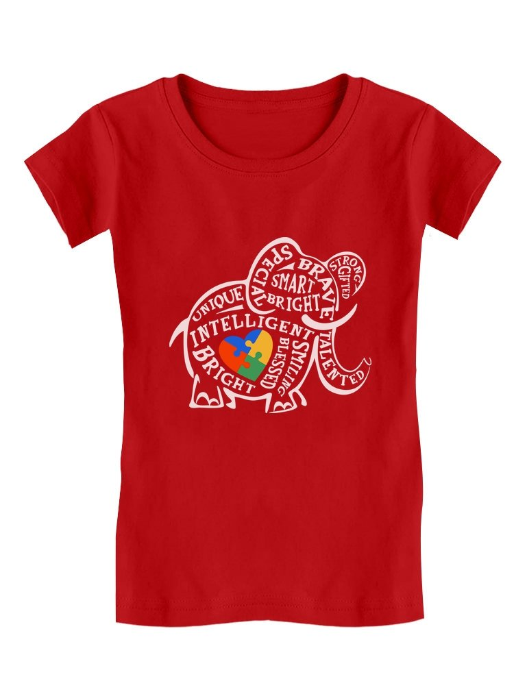 Tstars - Autism Awareness Elephant Toddler/Kids Girls' Fitted T-Shirt GZhPlltgw5