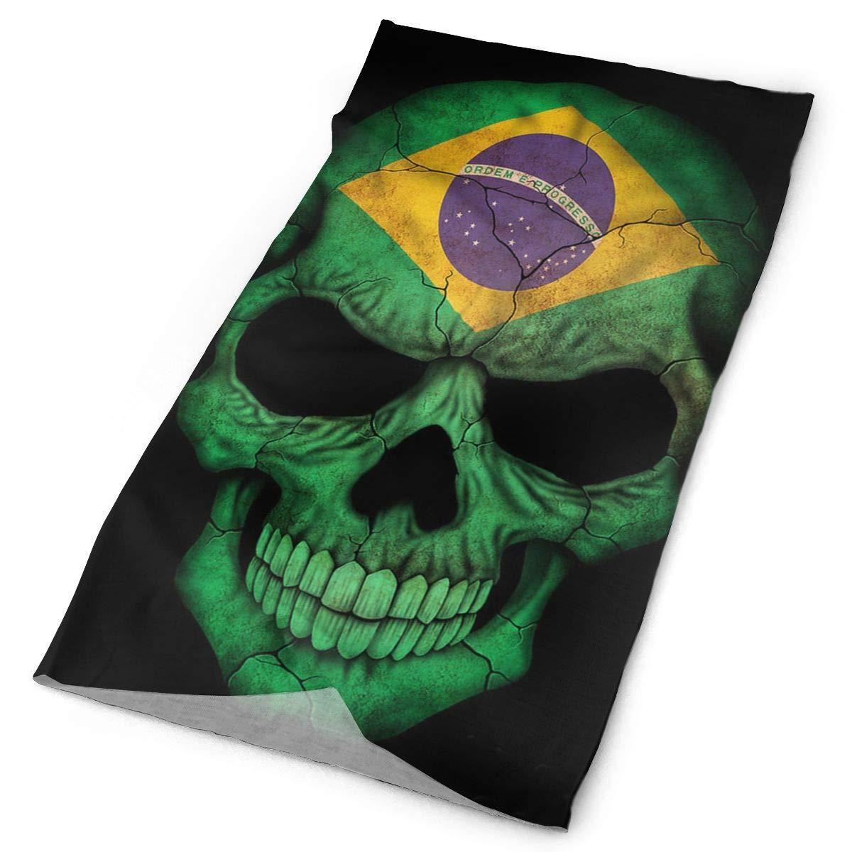 Brazilian Flag Skull Unisex Fashion Quick-Drying Microfiber Headdress Outdoor Magic Scarf Neck Neck Scarf Hooded Scarf Super Soft Handle