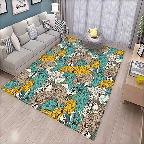 Floral Customize Door mats for Home Mat Vintage Hand Drawn Flowers with Flourishing Carnations Environment Door Mat Outside Earth Yellow Tan Turquoise -