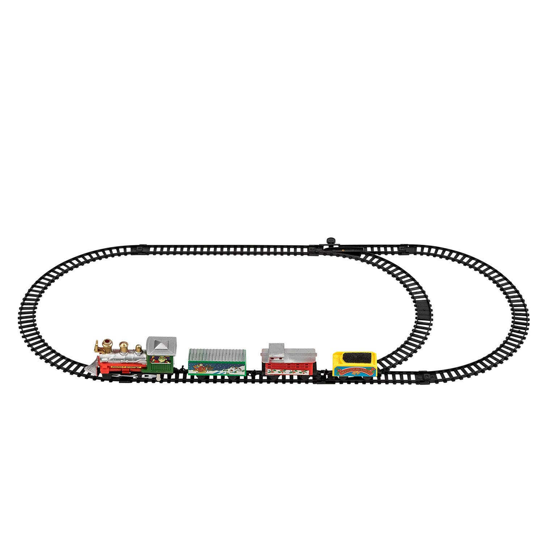 TRIXES Miniature Christmas Model Train Set Locomotive and 3 Carriages Santa Express Festive Decoration