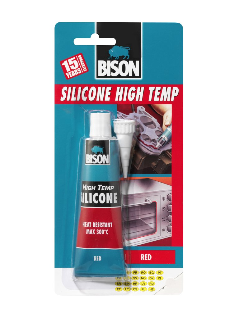 1 x 6305453 Bison Silicone High Temp Red Heat Resistant Sealant 60ml