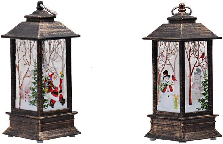Awolf Christmas Lantern, Vintage Flame Effect LED Lantern, Battery Operated Christmas Scene Lanter for Christmas Decoration and Gift (2pcs)