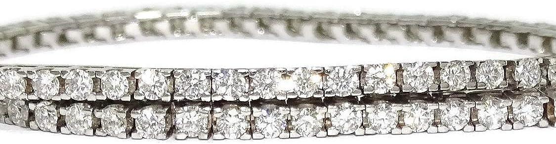 Never Say Never Pulsera Tipo Riviere de Diamantes y Oro Blanco de 18k con Diamantes Blancos o con Diamantes Negros. para Hombre o Mujer.