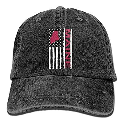 roylery Baseball Jeans Cap Vintage Maine State America Flag-1 Men Women Snapback Casquettes Adjustable Baseball Cap