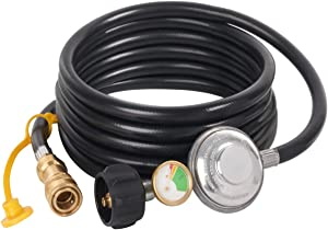 SHINESTAR 12ft Propane Hose Regulator with Tank Gauge for Mr.Heater Big Buddy Heater - 3/8in Female Quick Connect x QCC1 Propane Tank Connection, Quick Connect Hose with Regulator for Radiant Cabinet