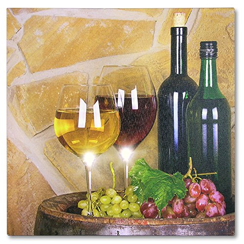 Wine Home Decor - Wine Canvas Print with LED Lights - Pictured with Wine Glasses Wine Bottles Grapes on a Barrel - 12x12 Inch (Wine Art Wall Decor Led Lights compare prices)