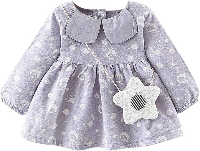 Elecenty Abbigliamento per Bambina Elegante Manica lunga neonata appena nata Dot Bowknot Princess Dress Clothes Outfits