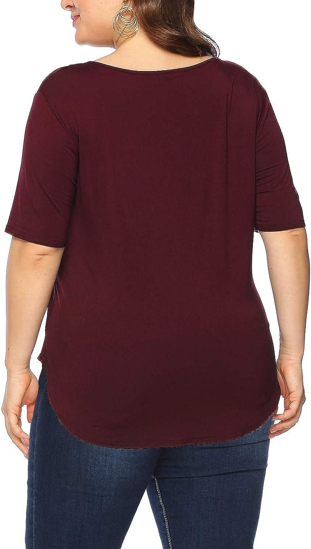 Amoretu Femme D/ét/é Col en V Manches Courtes Grande Taille T Shirt Tops Chemise