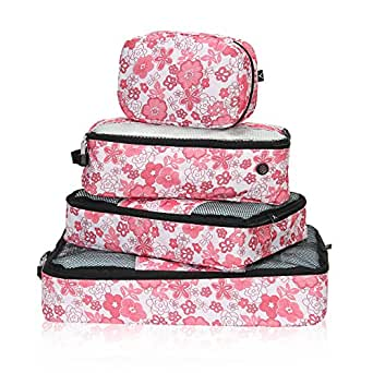 Hynes Eagle Travel Luggage Packing Organizers 4 Piece Packing Cubes Set, 2 Cubes 1 Shoe Bag 1 Toiletry Bag, Floral
