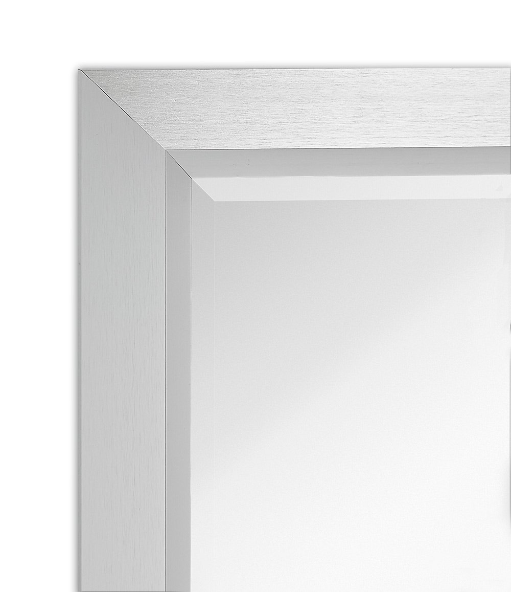 Premium Rectangular Brushed Aluminum Wall Mirror   Contemporary Metal Frame Silver Backed Mirrored Glass   Vanity, Bedroom or Bathroom   Rectangle Hangs Horizontal or Vertical (24'' x 30'') by Hamilton Hills (Image #5)