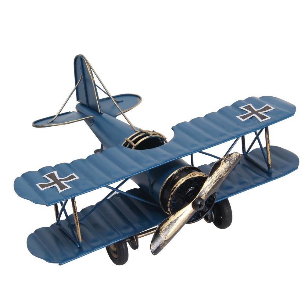 Berry President® Vintage / Retro Wrought Iron Aircraft Handicraft - Metal Biplane Plane Aircraft Models -The Best Choice for Photo Props/christmas Gift/home Decor/ornament/souvenir Study Room Desktop Decoration (Blue) P-001