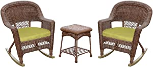 Jeco 3 Piece Rocker Wicker Chair Set With With Green Cushion, Honey