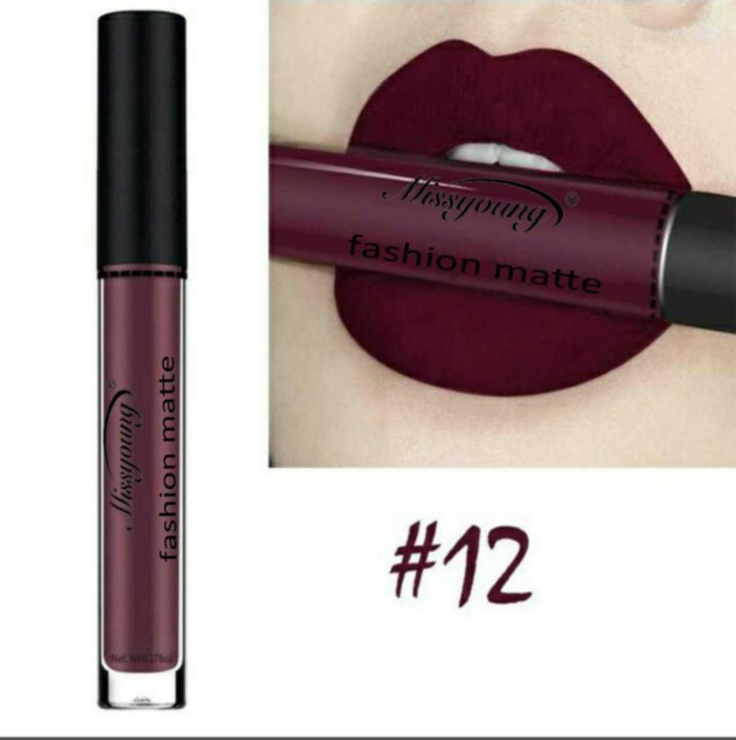 Women Cosmetics Matte Lip Gloss & Metallic Lip brillant Moisturizing Long-lasting Luster Lipstick (Miss young 12)