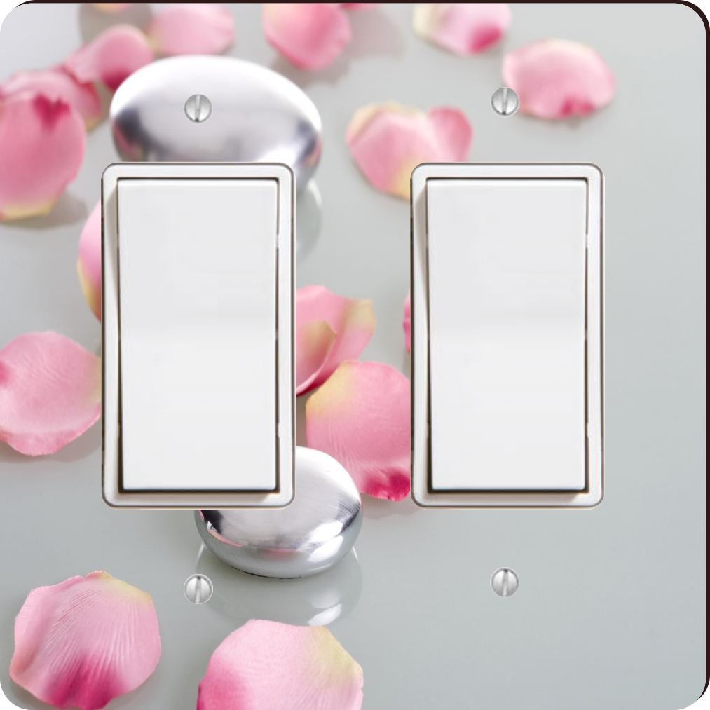 Rikki Knight 2045 Double Rocker Spa Stones with Rose Petals Design Light Switch Plate