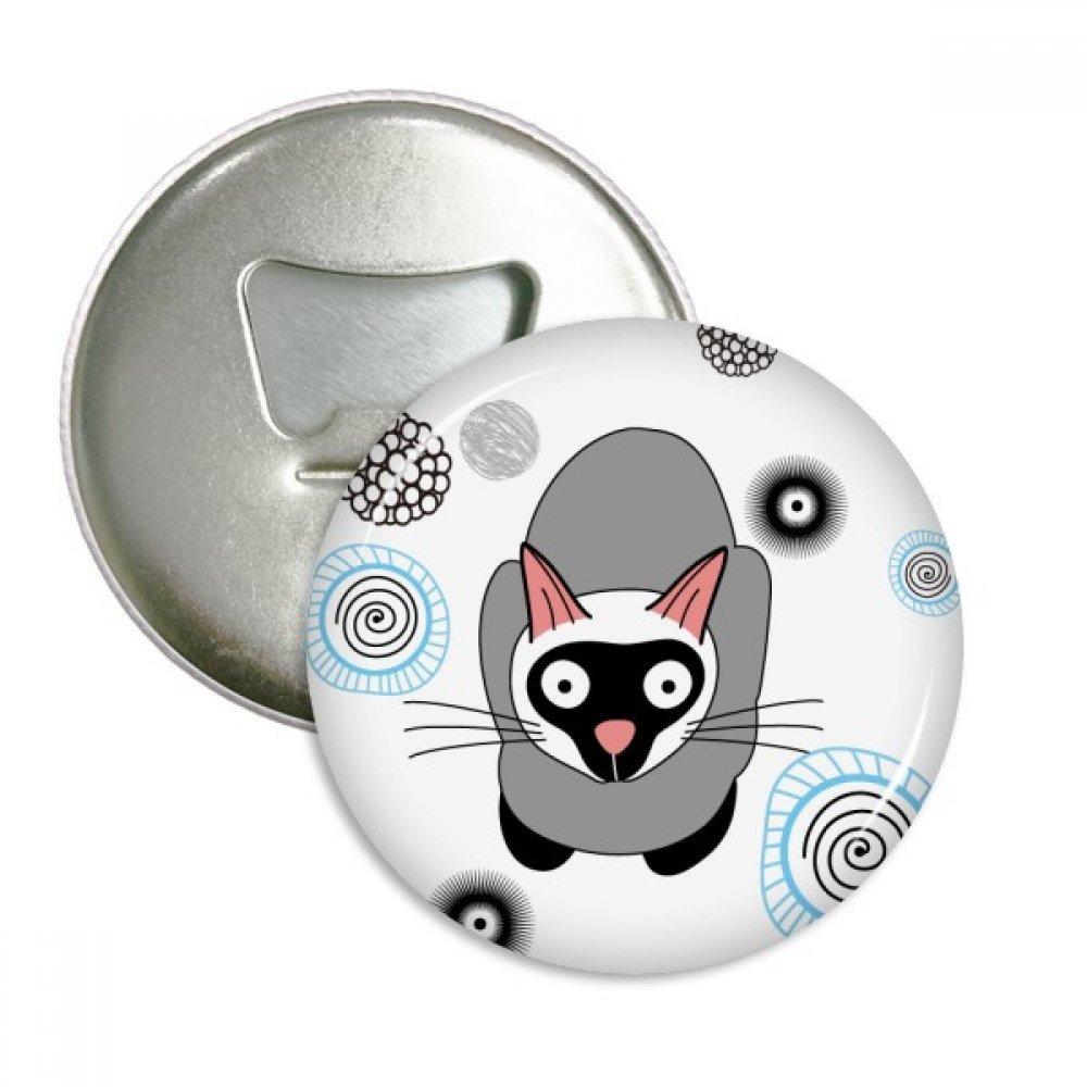 Siamese Kitten Gray Cat Animal Round Bottle Opener Refrigerator Magnet Pins Badge Button Gift 3pcs