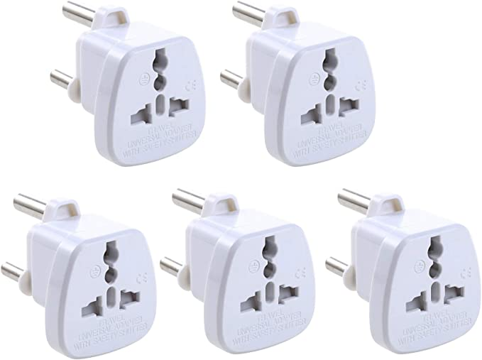 UHPPOTE Adaptador de Viaje Adaptador de Enchufe Tipo M Enchufe Socket BS546 para Sudáfrica (Color Blanco, 5 Unidades): Amazon.es: Electrónica