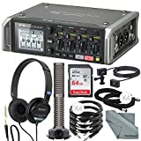 Zoom F4 Multitrack 6 In/ 8 Track Field Recorder with Timecode and Accessory Bundle w/ Mic Capsule + Extension Cable + Pro Headphones + Xpix Cables + Fibertique