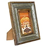 Indian Heritage Wooden Photo Frame 4x6 Dark Mango Wood Distress with Metal Cladding