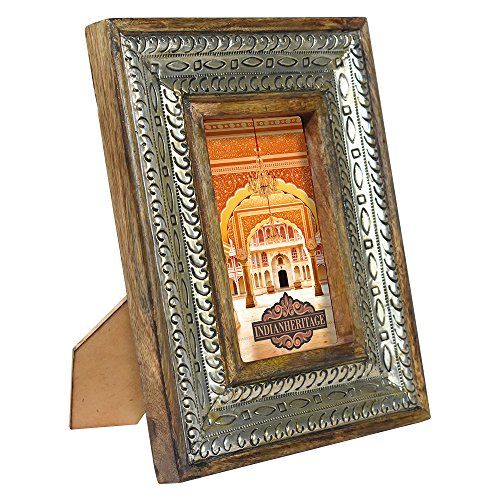 Indian Heritage Wooden Photo Frame 4x6 Dark Mango Wood Distress with Metal Cladding by Indian Heritage