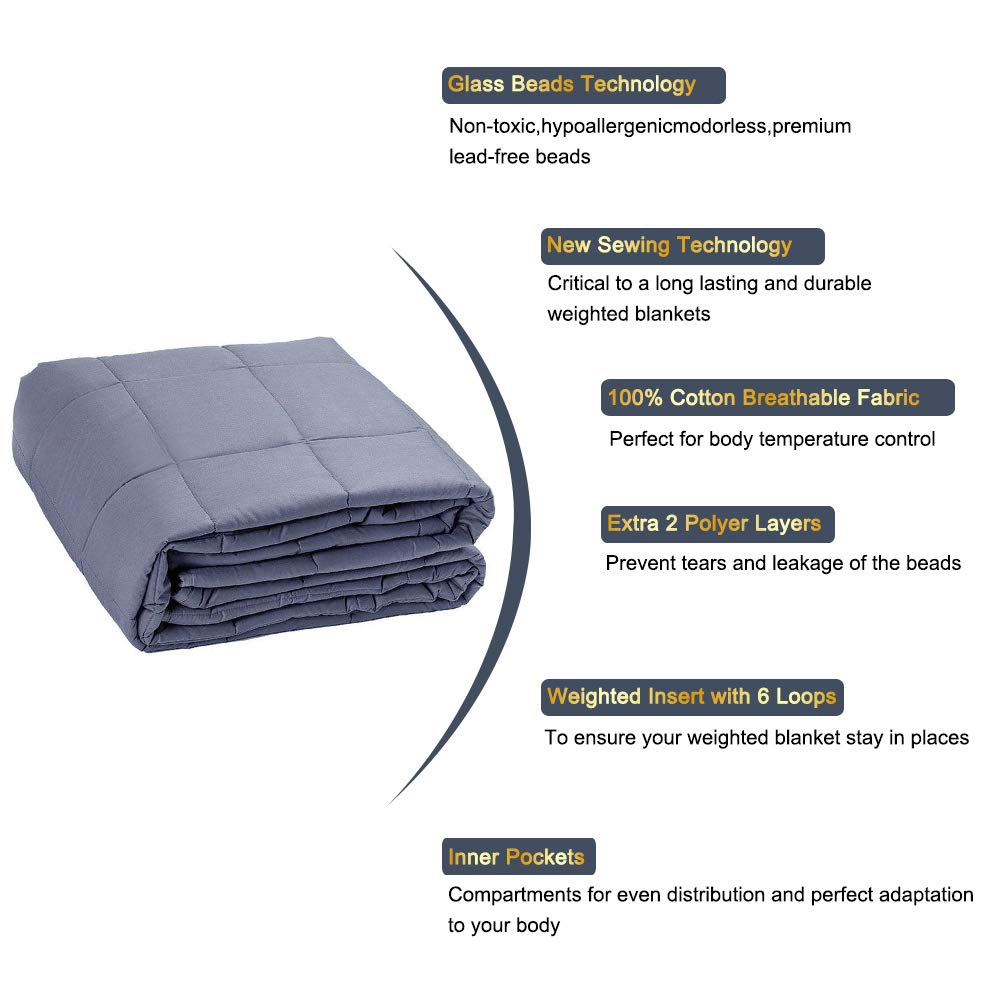 Auchen Weighted Blanket Duvet Covers 48x72,Soft Minky Fabric Removable Duvet Cover Fits 48 x 72 Inch Blankets Weighted Blankets,Blue