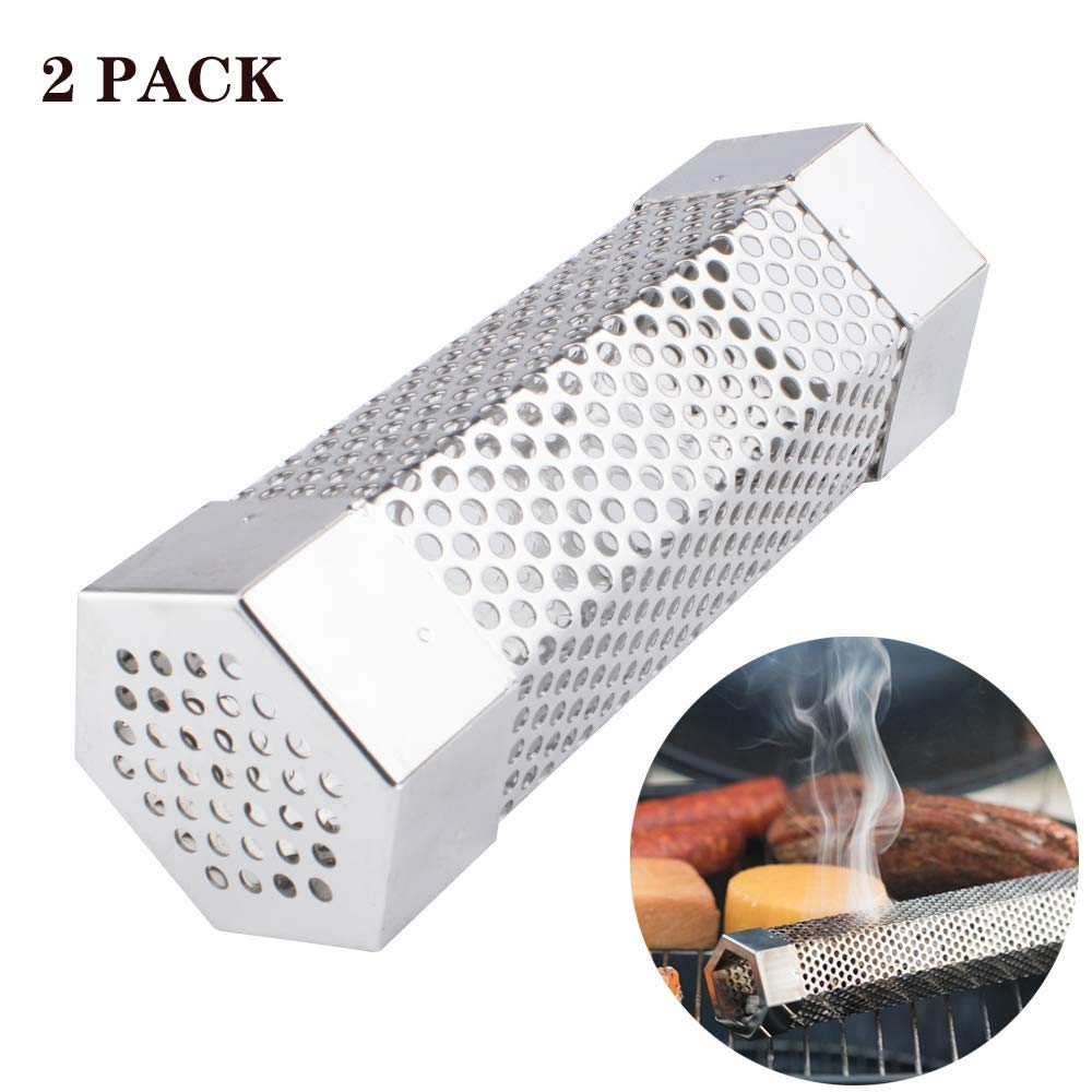 CulturePRN 2pcs Pellet Smoker Tube, 6'' Length Hexagon Shape Perforated BBQ Char Broil/Gas Amazing Grill Smoke Generator, 304 Stainless Steel, to Add Smoke Flavor to All Grilled Foods or Smoker