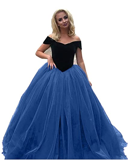 Promworld Womens Off The Shoulder Tulle Ball Gown Prom Dresses Blue US2