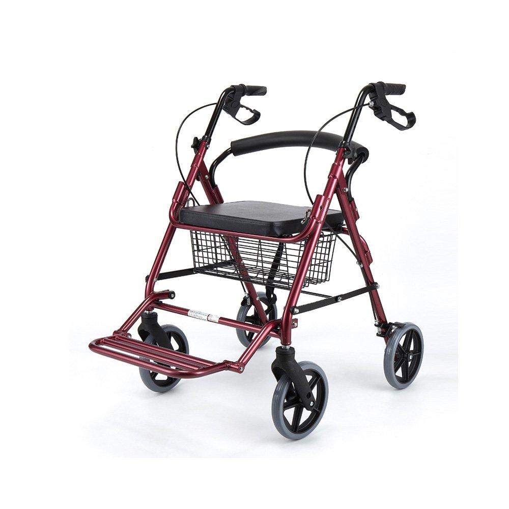 トイレシート 高齢者の折りたたみ歩行補助シートシート付き4足歩行スティックリカバリーウォーカー歩行補助 (色 : 赤) B07D9CTRRK  赤