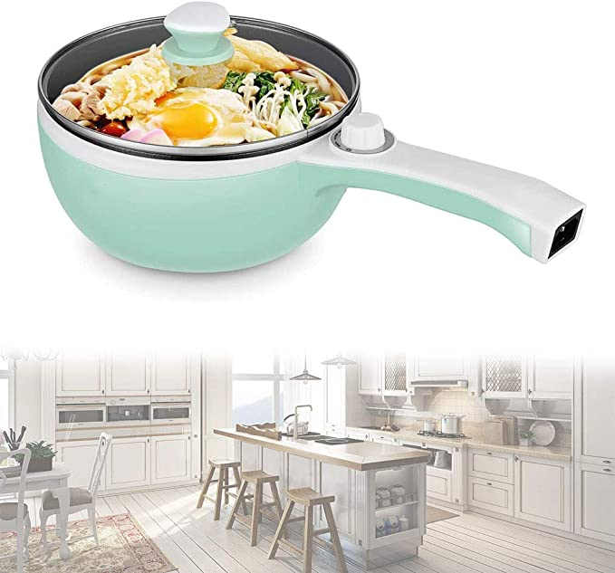 Oatmeal Rapid Noodles Cooker Steamed//Fried Egg Non-Stick Saut/é Pan FanCheng 2L Electric Hot Pot Mini Pot for Steak with Temperature Control Soup without Steamer, Rose Pink Ramen Fried Rice
