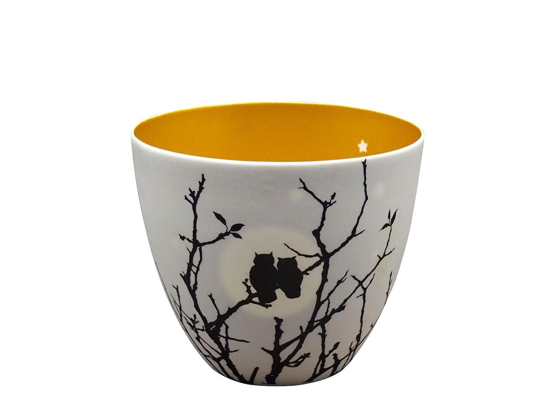 Portavelas Welink circular y dorado con diseño de búhos enamorados, 6,35 cm: Amazon.es: Hogar