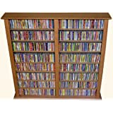 Venture Horizon Double 50-Inch CD DVD Wall Rack Media Storage - Dark Walnut