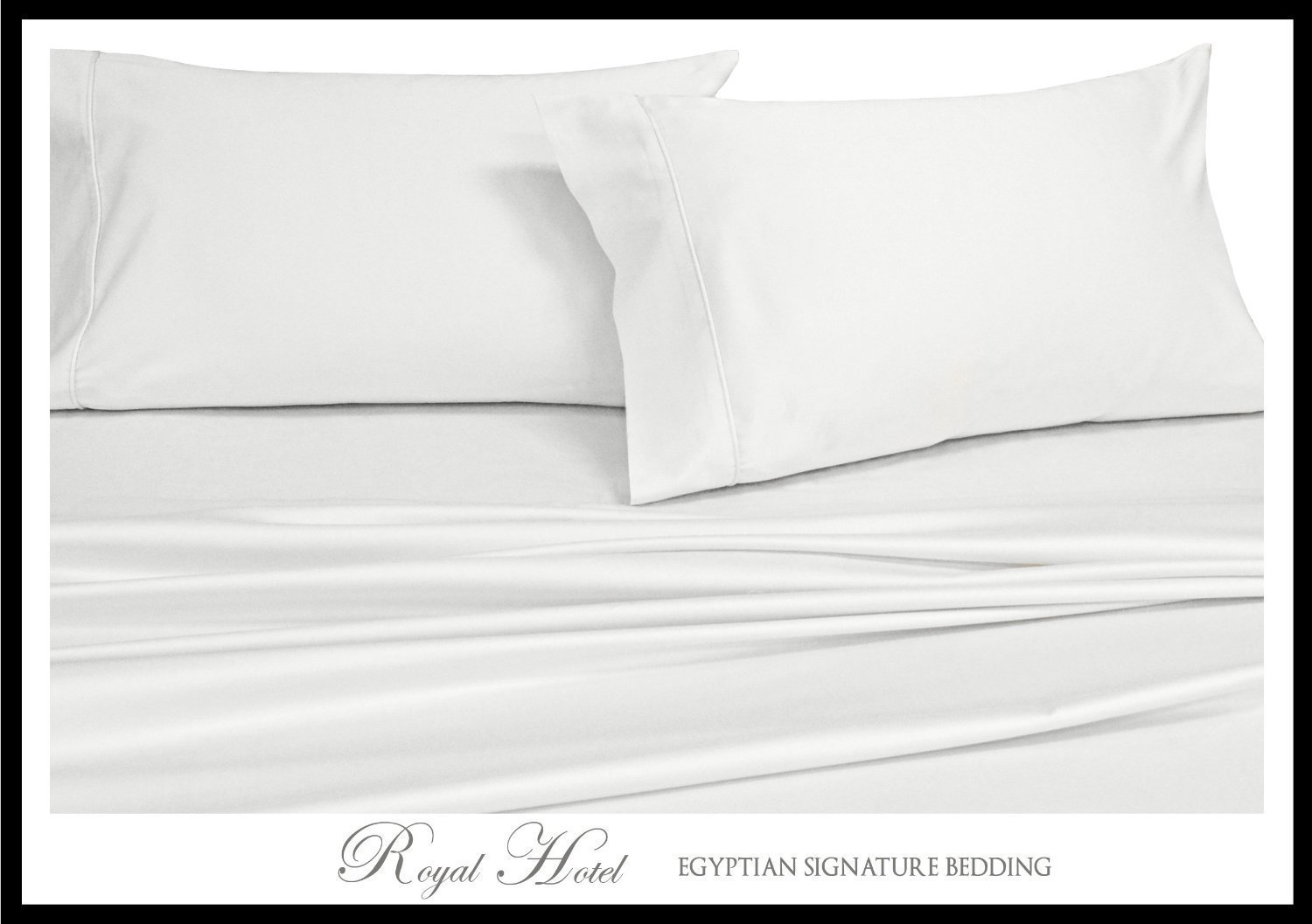 Royal's Solid White 1000-Thread-Count 4pc King Bed Sheet Set 100-Percent Cotton, Sateen Solid, Deep Pocket