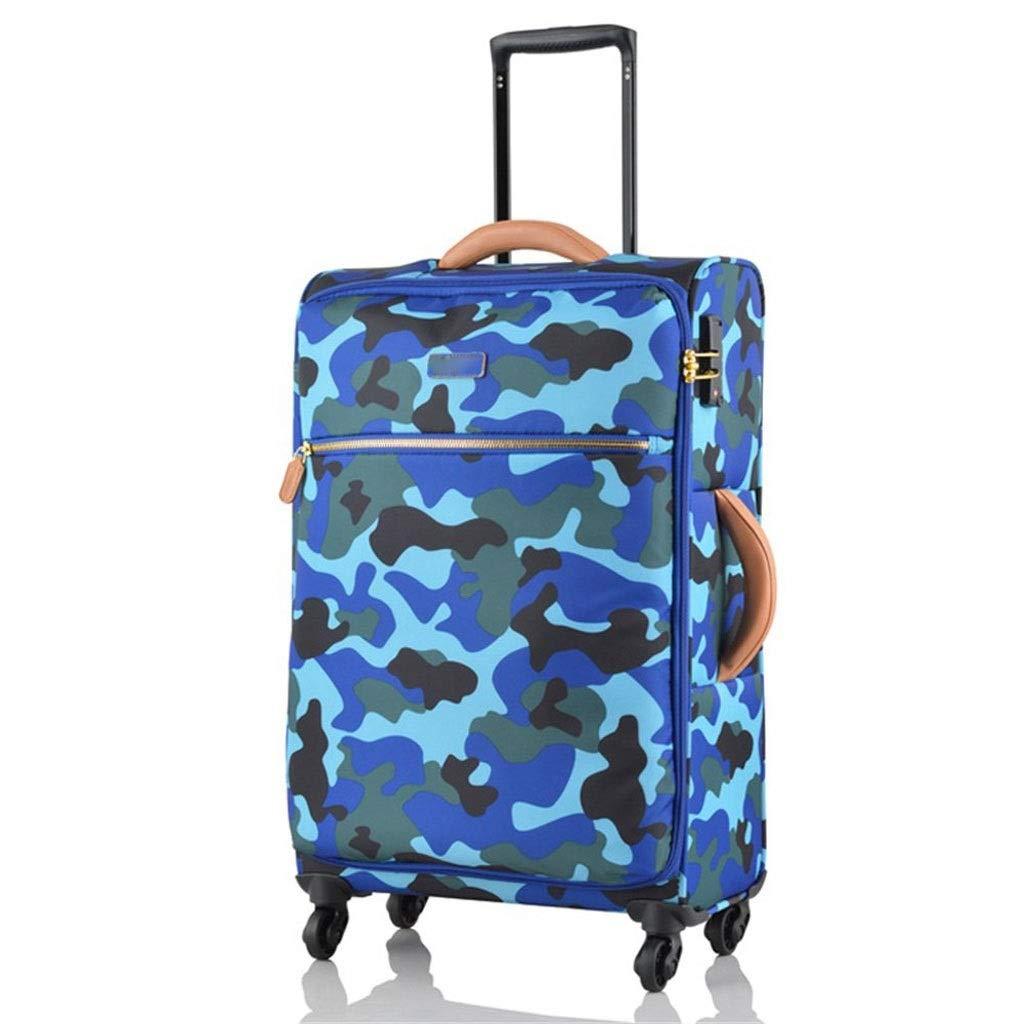 LEOO トロリーケース 超軽量 スーツケース トラベルケース ボード 防水ロック カモフラージュ ソフトクロスボックス ブルー 19/24/28インチ トロリーケース (サイズ : 24インチ) B07QRZJ4JD
