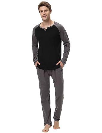 2cfe7c99a7 Hawiton Men s Pajama Pants Set 100% Cotton Long Sleeve Sleepwear Lounge  Black