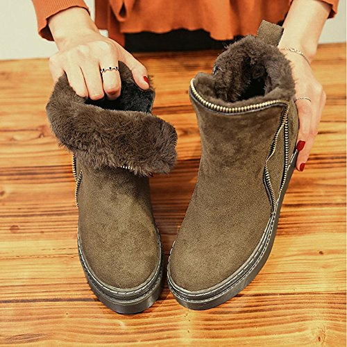 Comfort Round Outdoor Null Black Shoes Boots ZHZNVX Black PU for Brown HSXZ Women's Winter Toe Flat Null AOqwX4