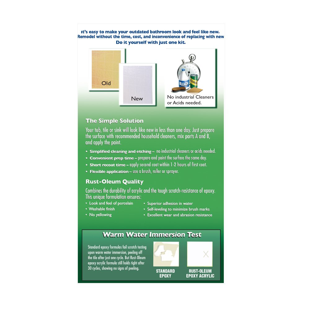 Rust-Oleum 7860519 Tub And Tile Refinishing 2-Part Kit, White ...