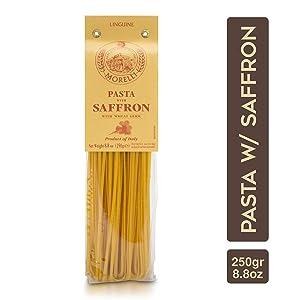 Morelli Pasta Saffron Linguine Pasta - Imported Pasta from Italy 8.8oz / 250g