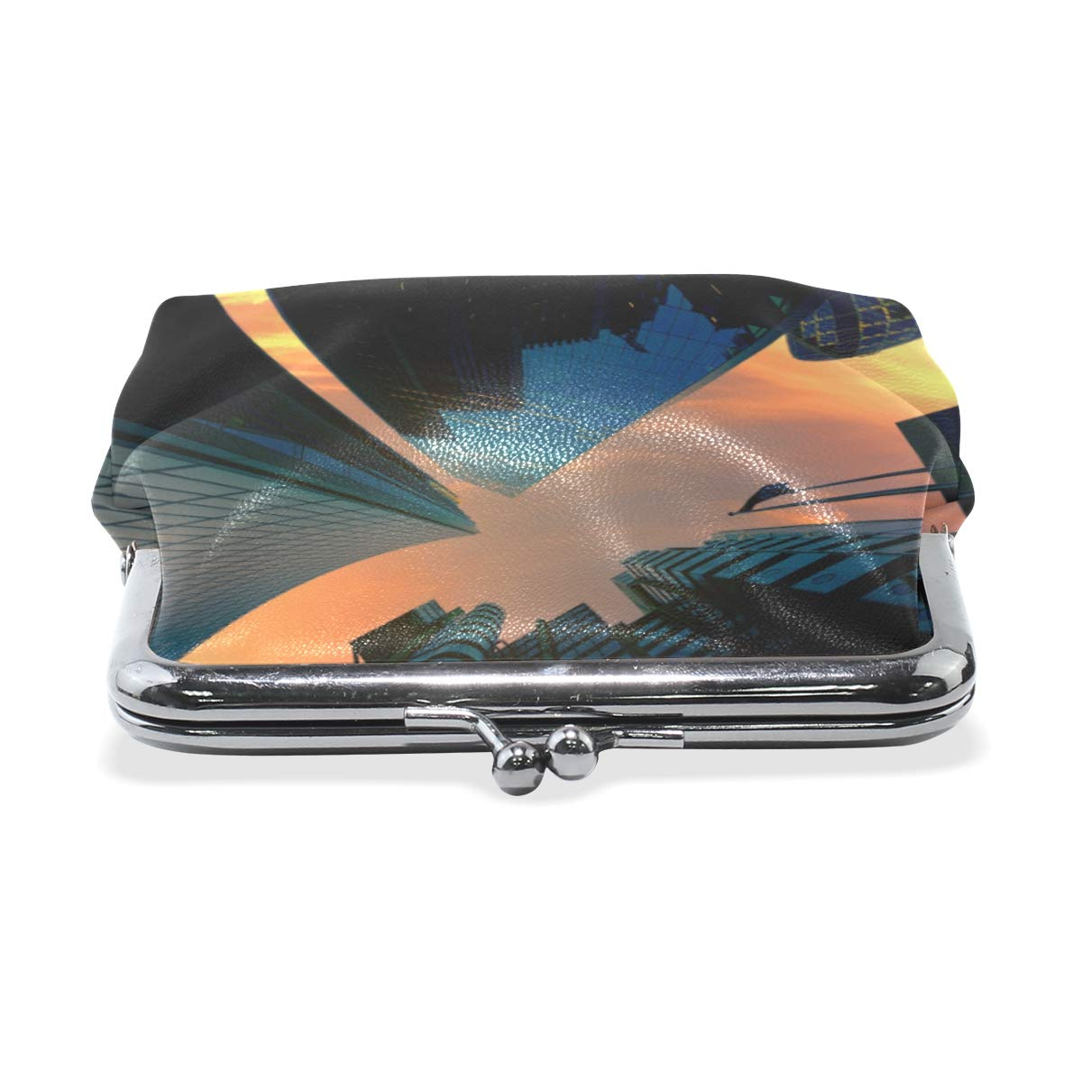 TIKISMILE Architectural Design Leather Fashion Buckle Cute Coin Purse Bags Clutch Pouch Wallet