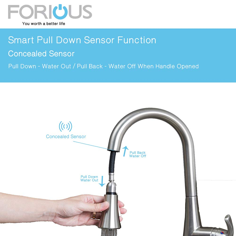 Touchless Kitchen Faucet with Pull Down Sprayer, Kitchen Sink Faucet ...