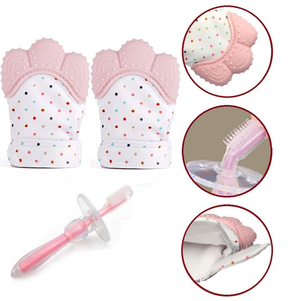 2 Teething Mittens with 1 infant silicon training toothbrush [3 Pack], 2 Baby Pain Relief Safe Food Grade teether Gloves plus 1 Soft Tasteless Bendable Toothbrush (Pink) Four Moons Trading Inc.