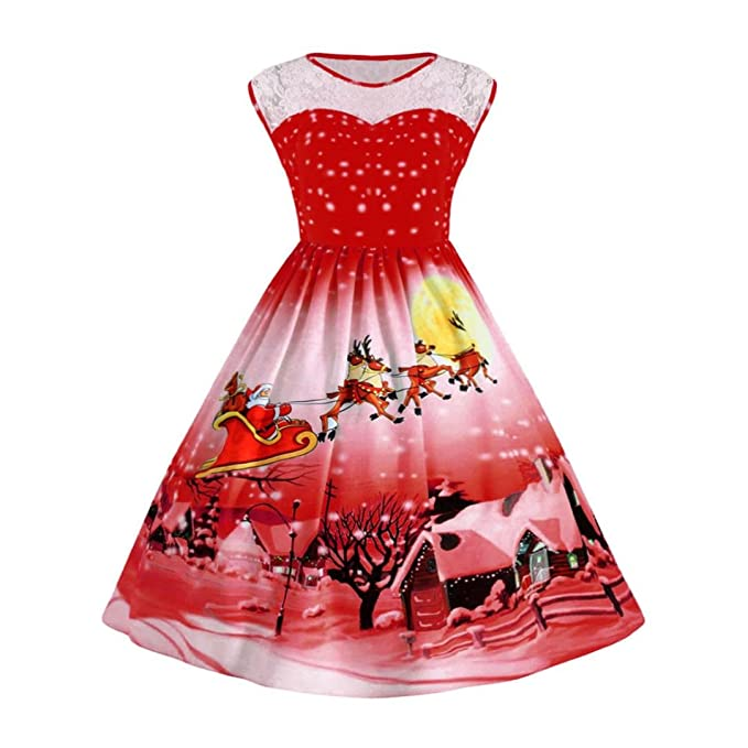 071d9e9b4baa Hiroo Donna Vestiti alla Moda per Ragazze di Cerimonia di Vestito Corto di  Natale Pizzo Stampato 3D Pin Up Swing Vestiti Eleganti per Ragazze Lace  Partito ...